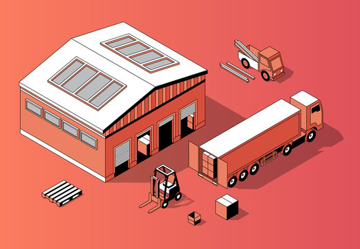 Vector 3d isometric warehouse with truck and forklift. Thin line style, transport logistics with storage building. Orange background with goods and repository. Commercial shipping.