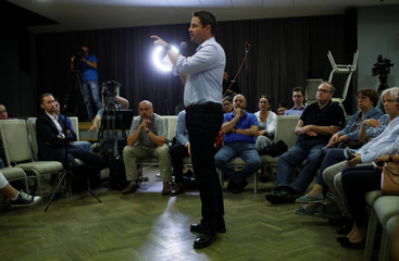 Trzaskowski, Civic Coalition candidate or mayor of Warsaw speaks during his election meeting in Warsaw