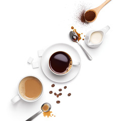 Top view of different types of coffee and ingredients