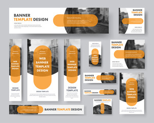 Wall Mural - set of horizontal, vertical and square web banners with semi-circular elements for a photo and a transparent orange plate.