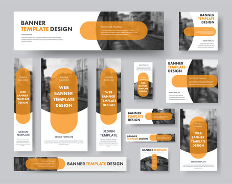 set of horizontal, vertical and square web banners with semi-circular elements for a photo and a transparent orange plate.