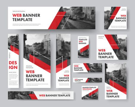 set of web banners of different sizes with diagonal red elements and a place for photos.