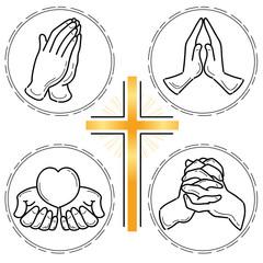 祈りの手4セット・線画