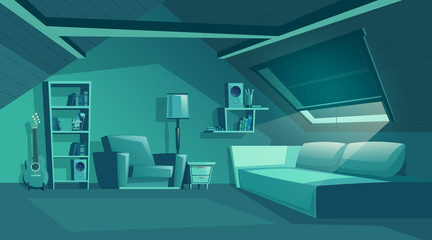 Vector attic interior at night, cartoon room with furniture, sofa with pillows. Cozy room in moonlight under roof with armchair, bookshelf and jalousie. Architecture background of garret, mansarda.