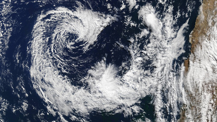 Typhoon from space. Satellite view. Elements of this image furnished by NASA