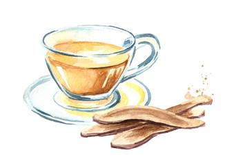 Lingzhi mushroom or reishi mushroom slice and tea, Herb plant. Watercolor hand drawn illustration isolated on white background