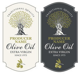 Vector set of two labels for extra virgin olive oil with handwritten calligraphic inscription, olive tree and olive sprig in figured frame in retro style.