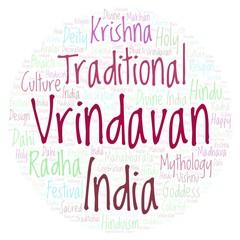 Vrindavan in circle shape word cloud.