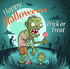 Happy halloween illustration. Zombie with a candy under the moon.