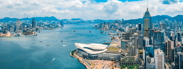 Photo sur Aluminium Hong-Kong Aerial view of Hong Kong skyline
