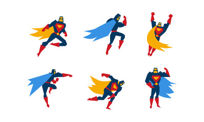 Collection of superheroes, superman character in different poses vector Illustration on a white background