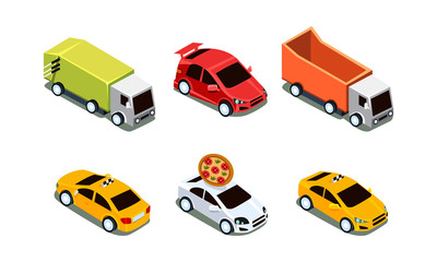 Vector set of different isometric vehicles. Pizza delivery and sport car, taxi and heavy trucks. Transport theme
