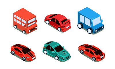 Vector set of different types of automobiles bus, passenger cars and van. Transport theme. Colorful isometric icons