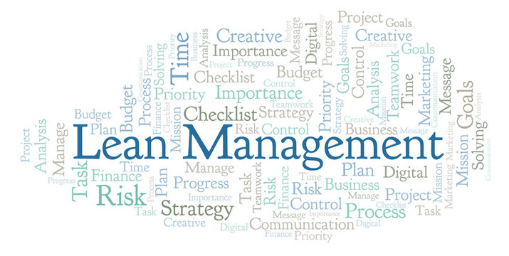 Lean Management word cloud, made with text only.