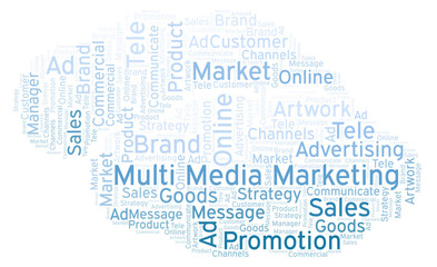 Word cloud with text Multi Media Marketing.