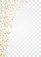 Gold stars falling confetti frame isolated on transparent background. Golden abstract pattern Christmas, New Year holiday celebration, festive, party. Glitter explosion. Vector illustration