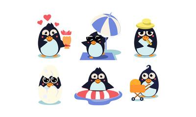 Flat vector set of cute penguins. South polar bird with shiny eyes. Funny cartoon characters