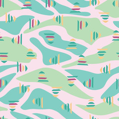 Poster Turkoois Pink green abstract landscape seamless pattern background