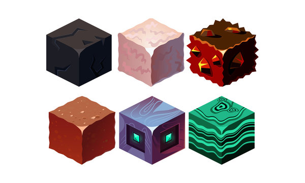 Vector set of isometric blocks with different texture. Cubes in 3D style. Gaming assets. Elements for fantasy mobile game