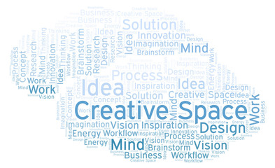 Creative Space word cloud, made with text only.