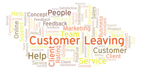 Customer Leaving word cloud.