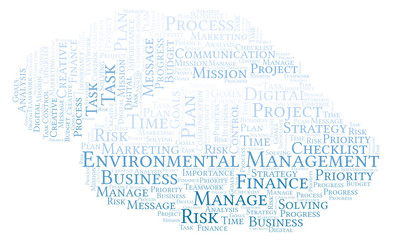 Environmental Management word cloud, made with text only.