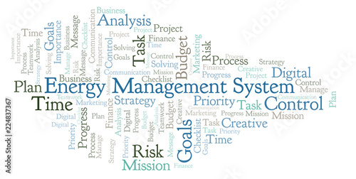 Energy Management System word cloud, made with text only