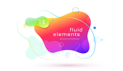Liquid color abstract geometric shape. Fluid gradient elements for minimal banner, logo, social post. Futuristic trendy dynamic elements. Abstract background geometric shape. Eps10 vector.