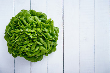 fresh green and healthy lettuce on an old white wooden table