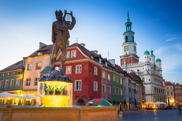 Architecture of the Main Square in Poznan, Poland.