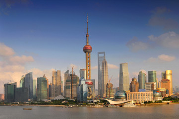 Shanghai skyline, view of Pudong and the Oriental earl Tower, China.