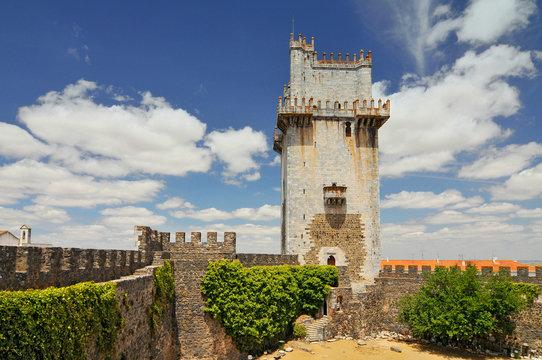 Old defensive castle tower in Beja, Portugal.