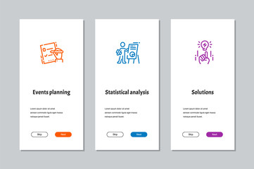 Events planning, Statistical analysis, Solutions onboarding screens