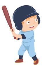 Happy little boy playing baseball