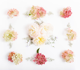 Festive white pink flower hydrangea composition on the white background. Frame, square. Overhead top view, flat lay. Copy space. Birthday, Mother's, Valentines, Women's, Wedding Day concept.