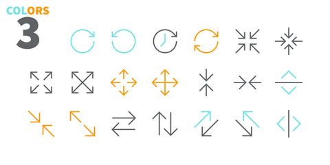 Arrows UI Pixel Perfect Well-crafted Vector Thin Line Icons 48x48 Ready for 24x24 Grid for Web Graphics and Apps with Editable Stroke. Simple Minimal Pictogram Part 3-5