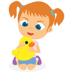 Young Girl Playing Her Duck Toy