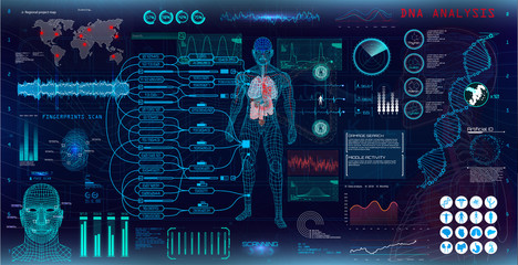 Genetic research. Medical examination, display virtual HUD style, for medical app. Virtual graphic touch user interface. Vector collection UI HUD.  Infographic, charts, statistic and diagrams set