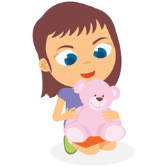 Happy Little Girl Playing Her Doll