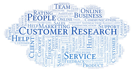 Customer Research word cloud.