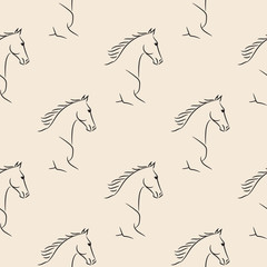 Seamless pattern with black horses, beige background. Realistic vector illustration.