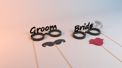 3d rendering of a photo booth wedding celebration design inside a studio