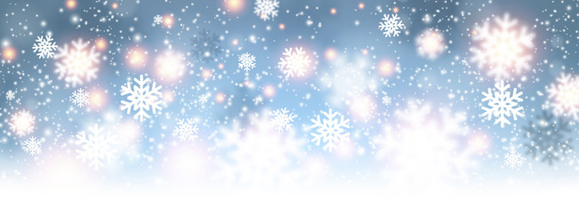 Blue shiny winter banner with snowflakes.