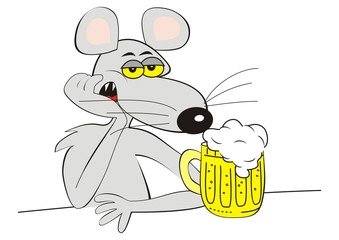 drunk mouse and beer, funny vector illustration,