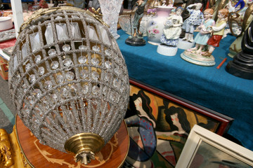 Crystal chandelier at the flea market (Flohmarkt am Naschmarkt) in Vienna, Austria. April, 2008.