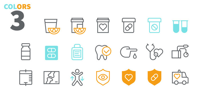 Health UI Pixel Perfect Well-crafted Vector Thin Line Icons 48x48 Ready for 24x24 Grid for Web Graphics and Apps with Editable Stroke. Simple Minimal Pictogram Part 1-3
