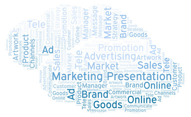 Word cloud with text Marketing Presentation.