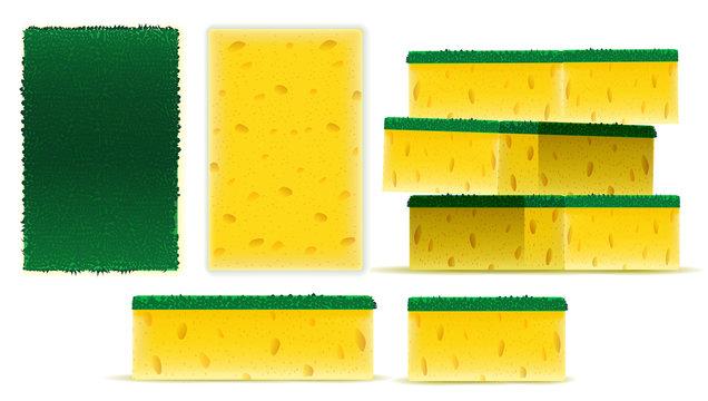Scrub yellow sponge set design, dish washing tool in vector illustration on white background