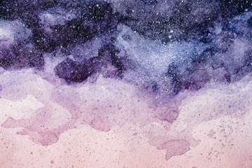 Fototapeta full frame image of night sky painting with purple and pink watercolor paints background obraz