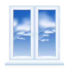 Modern Plastic Window Vector. Plastic White Window Front View. Isolated on White Background Illustration.